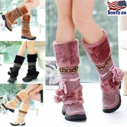 Winter Women Ladies Snow Boots Fur Lined Warm Casual Slip On