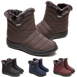 Womens Winter Warm Fur Lined Snow Waterproof Flat Ankle Boot