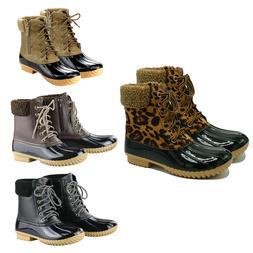 Women Duck Boots Ankle Strap Rain Waterproof Snow Winter Fur