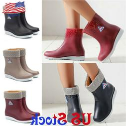 Women Anti-slip Waterproof Wedge Rainy Snow Boots Warm Flat