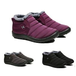 Women Autumn Winter Warm Fur-lined Ankle Snow Boots Slip On
