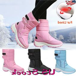 Women Casual Water-Proof Warm Mid Calf Winter Shoes Fur Line