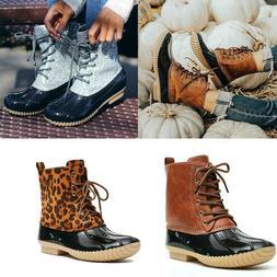 Women Duck Boots Ankle Strap Glitzy Rain Waterproof Snow Win