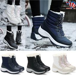 Women Ladies Fur Lined Anti-Slip Snow Boots Winter Warm Outd