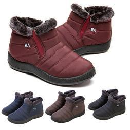 Women Men Winter Warm Shoes Snow Boots Fur-lined Slip On Ank