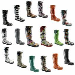 DailyShoes Women Puddles Rain Snow Boot Mid Calf Knee High W