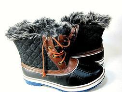 GLOBALWIN Women's 1632 Black Grey Snow Boots Brown US Size 8