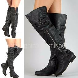 Women's Black Faux Leather Over the Knee High Long Boots Fla