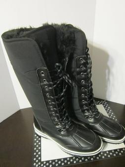 Nature Breeze Women's Black Nylon Snow Boots Faux Fur Lined
