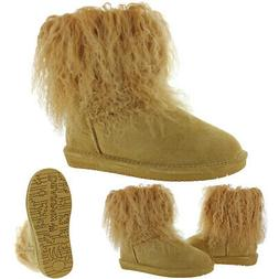 Bearpaw Women's Boo Suede Lamb Hair Cuff Lined Mid-Calf Snow
