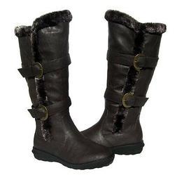 Women's BOOTS Knee High  Brown Winter Fur Lined Snow shoe La