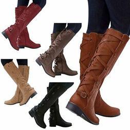 Women's Boots Winter Cross Strap Long Snow Knee High Bootie