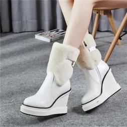 Women's Buckle Snow Ankle Boots Warm Fur Booties Wedge Heel