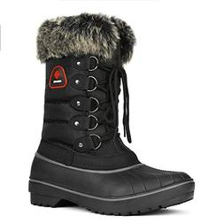 DREAM PAIRS Women's DP-Canada Black Faux Fur Lined Mid Calf