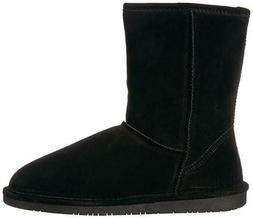 BEARPAW Women's Emma Short Winter Snow Boot 100% Suede Black