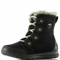 Sorel Women's Explorer Joan NL3039 Winter Snow Boot Black Si