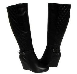 Women's Fashion Boots Black Wedge Shoes Knee High Winter Sno