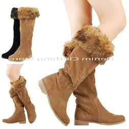 Women's Fashion Faux Fur Flat Knee High Boots Winter Snow Br