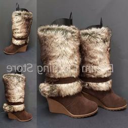 Women's Fashion Knee High Heel Warm Winter Snow Boots Fur Fl