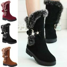 Women's Flat Ankle Winter Fur Lined Snow Boots Mid Calf Ski