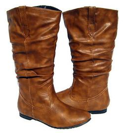 Women's Flat Winter BOOTS Slouch Pull On Style Camel Snow sh