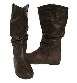 Women's Flat Winter BOOTS Slouch Pull On Style Brown Snow sh