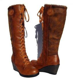 Women's Fur Lined Boots Cognac Brown Wedge Shoes Winter Snow