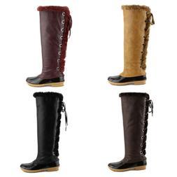 Women's Knee High Duck Rain Lace Up Snow Warm Waterproof Win