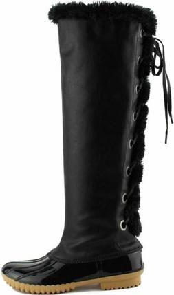 Women's Knee High Lace Up Insulated Waterproof Duck Snow Boo