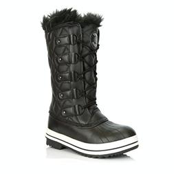 DailyShoes Women's Lace Up Knee High Artic Warm Fur Water Re