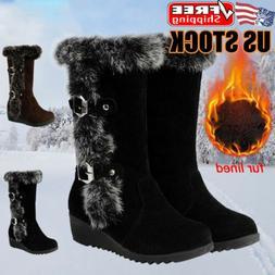 Women's Ladies Wedge Heel Snow Boots Fur Lined Winter Warm B