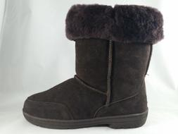 Women's BEARPAW MEADOW SHORT Brown Leather Wool-Lined Snow W