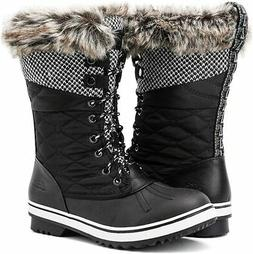 ALEADER Women's Mid-Calf Waterproof Winter Snow Boots, Black
