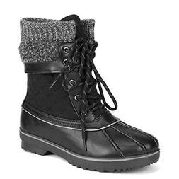 DREAM PAIRS Women's Monte_01 Black Mid Calf Winter Snow Boot