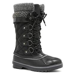 DREAM PAIRS Women's Monte_02 Black Mid Calf Winter Snow Boot