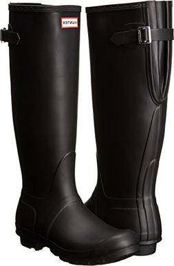 Hunter Women's Original Back Adjustable Rain Boots Black 9 M
