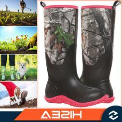 HISEA Women's Outdoor Boots Rain & Snow Muck Mud Work Boots