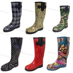 Women's Rain Boots Colors Festival Mid Calf Wellie Rubber Fu
