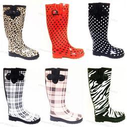 Women's Rain Boots Wellies Mid Calf Rubber Waterproof Rain &