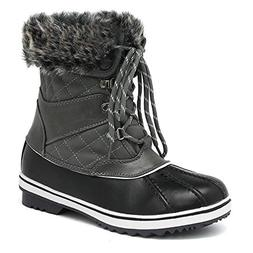 DREAM PAIRS Women's River_2 Grey Mid Calf Winter Snow Boots