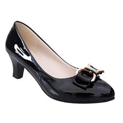 Women's Sexy Single Shoes Fashion Bow Patent Leather Round H