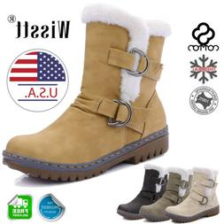 Women's Snow Ankle Boots Winter Leather Fur Lining Warm Wate