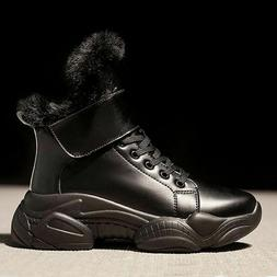 Women's Snow Boots Fashion Sneakers Lace Up Plush Fur Warm A
