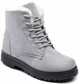 Susanny Women's Suede Flat Platform Sneaker Lace Up Snow Boo