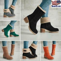 Women's Suede Snow Boots Winter Warm Fur Thicken Mid Calf Ca