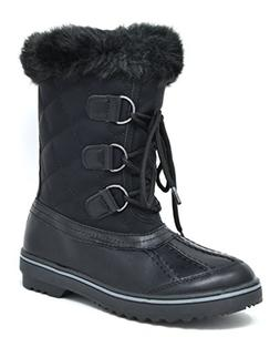 DREAM PAIRS Women's Swiss-Low Black Mid Calf Winter Snow Boo