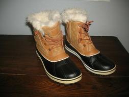 GLOBALWIN Women's Tan/Black Snow Boots SZ. 10M US Style W163