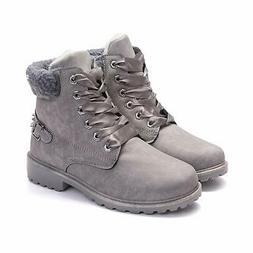 Susanny Women's Warm Snow Boots Ankle Lace up Short Combat B