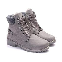Susanny Women's Warm Snow Boots Ankle Lace up Short Combat B