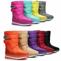 DADAWEN Women's Waterproof Frosty Snow Boot, Black, Size 10.